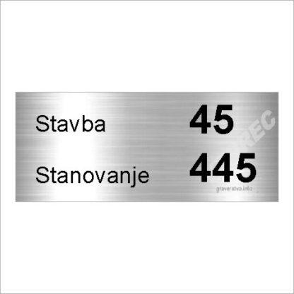 Tablica za stanovanje srebrna